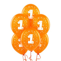 Orange with #1 Matte Balloons
