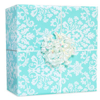 Robin's Egg Blue Brocade Gift Wrap Kit