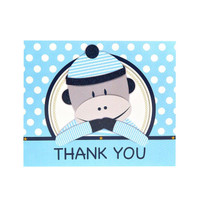 Sock Monkey Blue Thank-You Notes (8)
