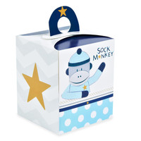 Sock Monkey Blue Cupcake Boxes