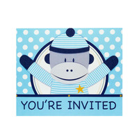 Sock Monkey Blue Invitations (8)