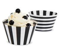 Black & White Striped Reversible Cupcake Wrappers