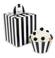 Black & White Striped Cupcake Boxes