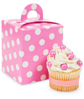 Hot Pink & White Polka Dot Cupcake Boxes