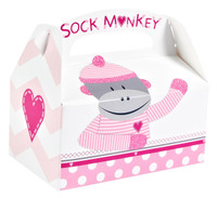 Sock Monkey Pink Empty Favor Boxes (4)