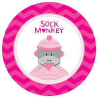 Sock Monkey Pink Round Placemats (4)