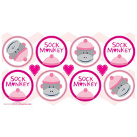 Sock Monkey Pink Small Lollipop Sticker Sheet