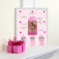 Sock Monkey Pink Framed Signature Matte