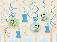 Disney Mickey 1st Birthday Hanging Swirl Decorations