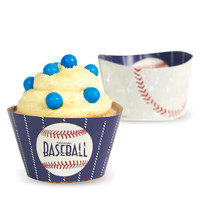 Baseball Time Reversible Cupcake Wrappers