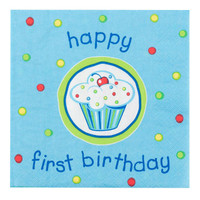 Boy's Lil' Cupcake 1st Birthday Lunch Napkins