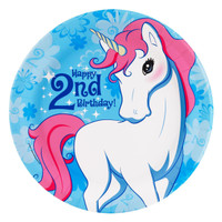 Enchanted Unicorn 2nd Birthday Dinner Plates