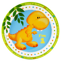 Little Dino 1st Birthday Dinner Plates
