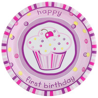 Girl's Lil' Cupcake 1st Birthday Dinner Plates