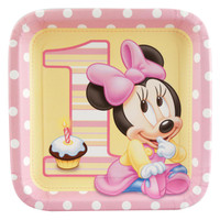 Disney Minnie's 1st Birthday Square Dinner Plates