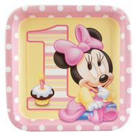 Disney Minnie's 1st Birthday Square Dinner Plates