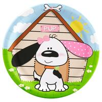Playful Puppy Pink Dinner Plates