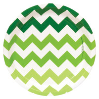 Chevron Green Dinner Plates