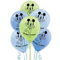 Disney Mickey 1st Birthday Latex Balloons
