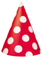 Ruby Red with White Polka Dots Cone Hats