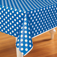 Blue and White Dots Plastic Tablecover