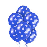 Blue and White Dots Latex Balloons