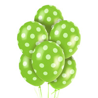 Green and White Dots Latex Balloons