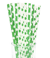 Green and White Dot Straws