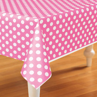 Pink and White Dots Plastic Tablecover