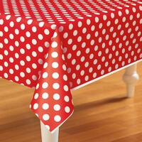 Red and White Dots Plastic Tablecover