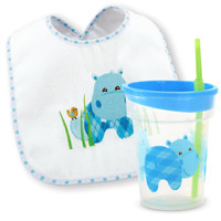 Hippo Blue Bib and Tumbler Gift Set
