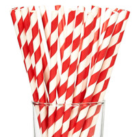 Cherry Striped Paper Straws