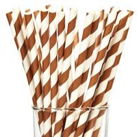 Chocolate Striped Paper Straws