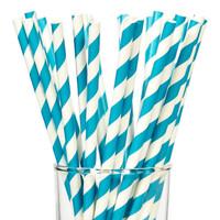 Aqua Striped Paper Straws