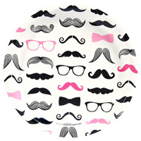 Pink Mustache Dinner Plates