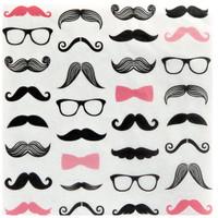 Pink Mustache Lunch Napkin