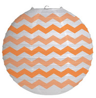 "12"" Round Paper Chevron Lantern - Sunkissed Orange"