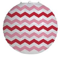 "12"" Round Paper Chevron Lantern - Classic Red"