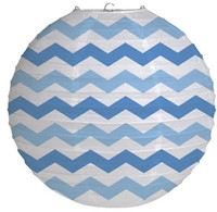 "12"" Round Paper Chevron Lantern - True Blue"