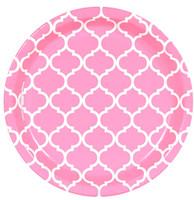 Candy Pink Quatrefoil Dinner Plates (8)