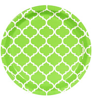 Fresh Lime Quatrefoil Dinner Plates (8)