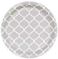 Medium Gray Quatrefoil Dinner Plates (8)