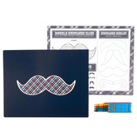 Little Man Mustache Activity Placemat Kit for 4
