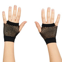 80's Black Short Fishnet Adult Gloves