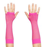 80's Neon Pink Long Fishnet Adult Gloves