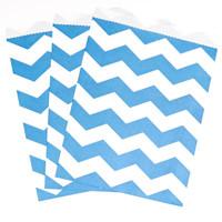 True Blue Chevron Paper Treat Bags (10)