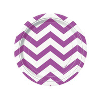 Pretty Purple Chevron Dessert Plates (8)
