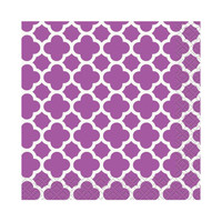 Pretty Purple Quatrefoil Beverage Napkins (16)