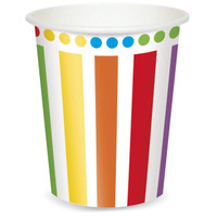 Rainbow Birthday Party 9 oz. Paper Cups (8)
