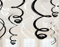 Black & White Plastic Swirl Decorations